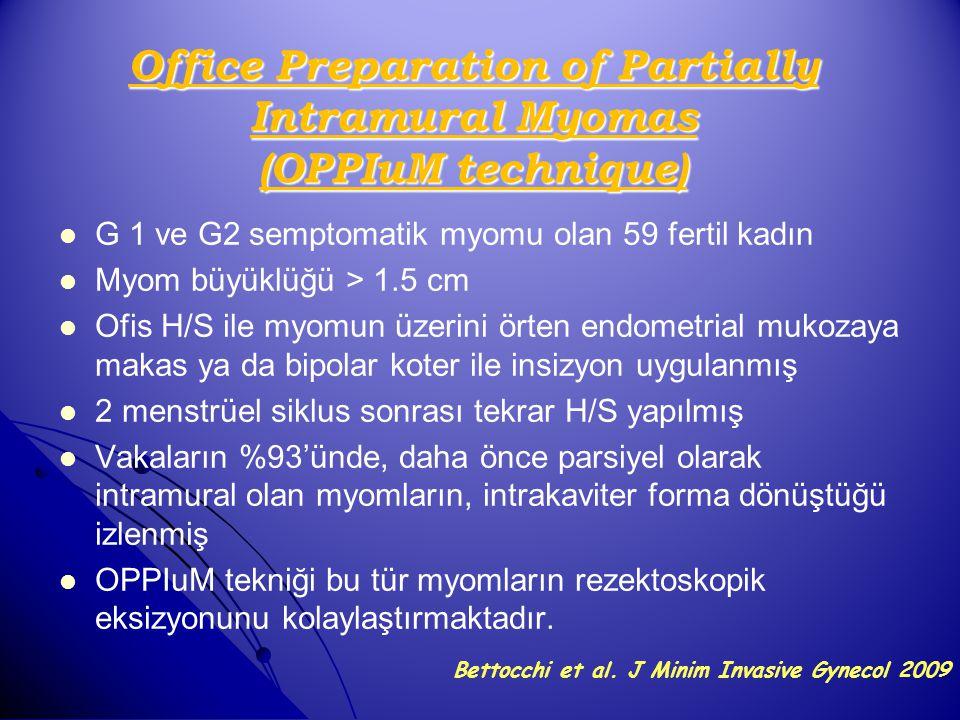 Office Preparation of Partially Intramural Myomas (OPPIuM technique) G 1 ve G2 semptomatik myomu olan 59 fertil kadın Myom büyüklüğü > 1.5 cm Ofis H/S