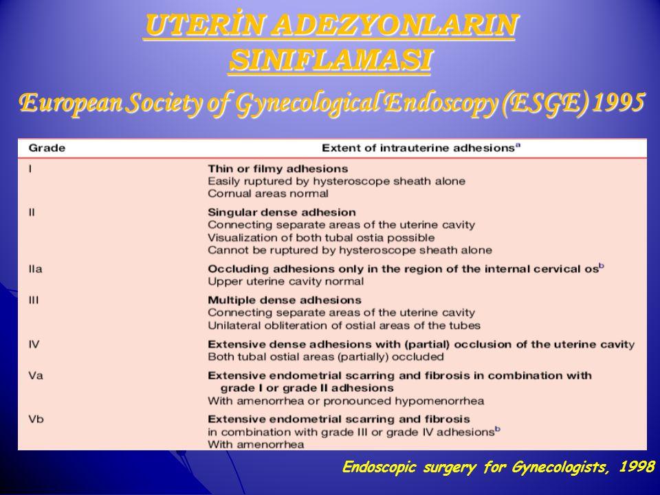 European Society of Gynecological Endoscopy (ESGE) 1995 Endoscopic surgery for Gynecologists, 1998 UTERİN ADEZYONLARIN SINIFLAMASI