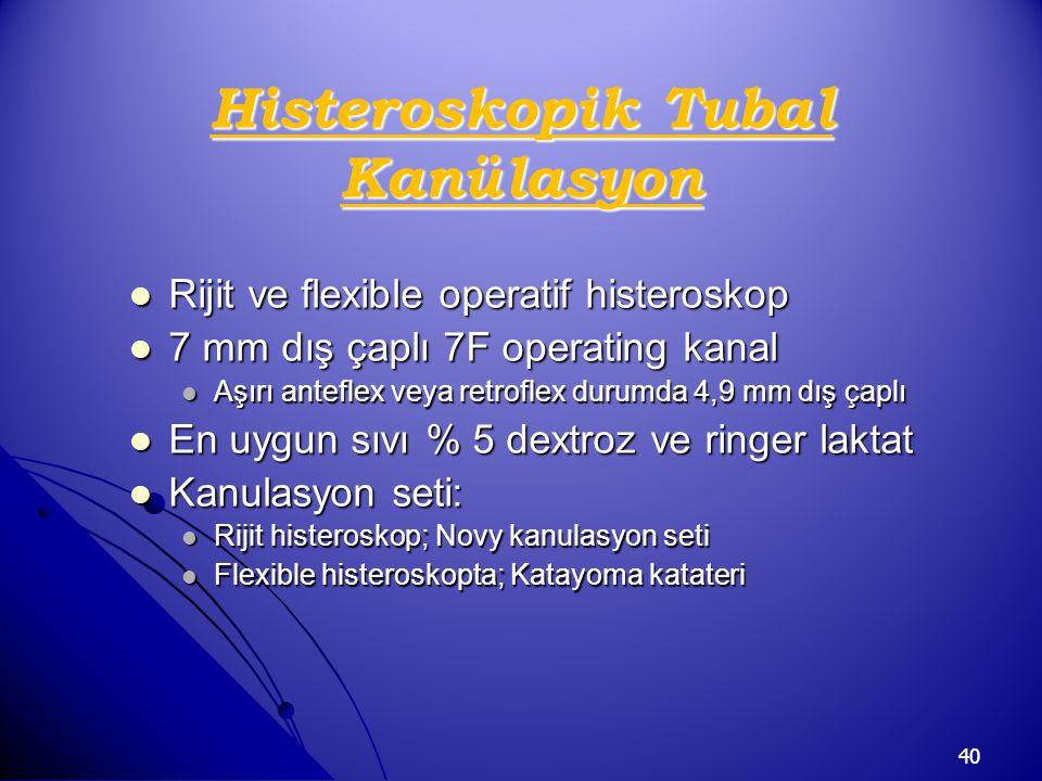 40 Histeroskopik Tubal Kanülasyon Rijit ve flexible operatif histeroskop Rijit ve flexible operatif histeroskop 7 mm dış çaplı 7F operating kanal 7 mm