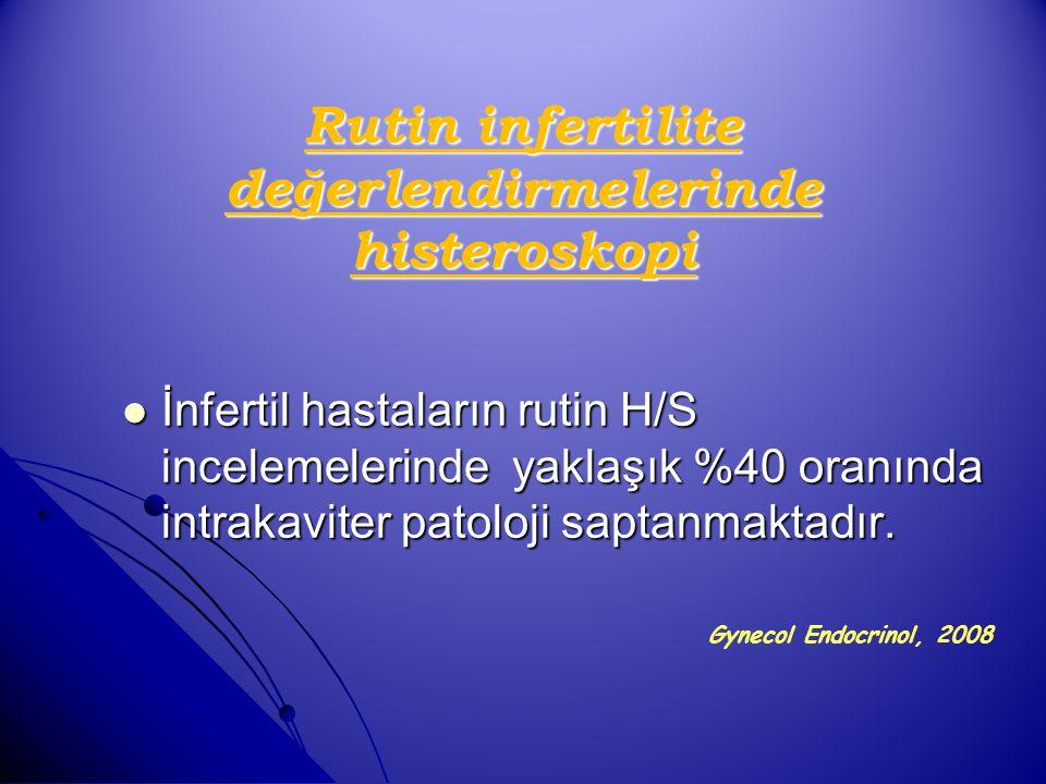 Rutin infertilite değerlendirmelerinde histeroskopi İnfertil hastaların rutin H/S incelemelerinde yaklaşık %40 oranında intrakaviter patoloji saptanma