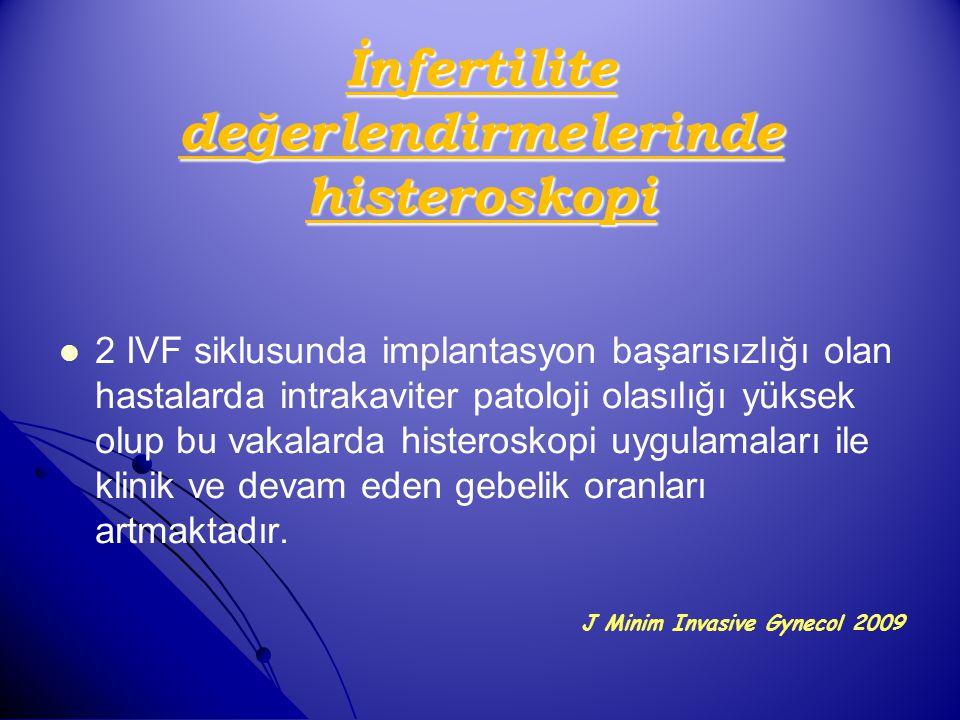 İnfertilite değerlendirmelerinde histeroskopi 2 IVF siklusunda implantasyon başarısızlığı olan hastalarda intrakaviter patoloji olasılığı yüksek olup