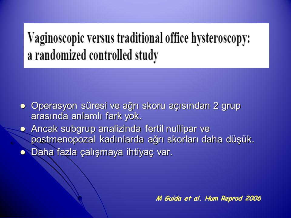 Operasyon süresi ve ağrı skoru açısından 2 grup arasında anlamlı fark yok. Operasyon süresi ve ağrı skoru açısından 2 grup arasında anlamlı fark yok.