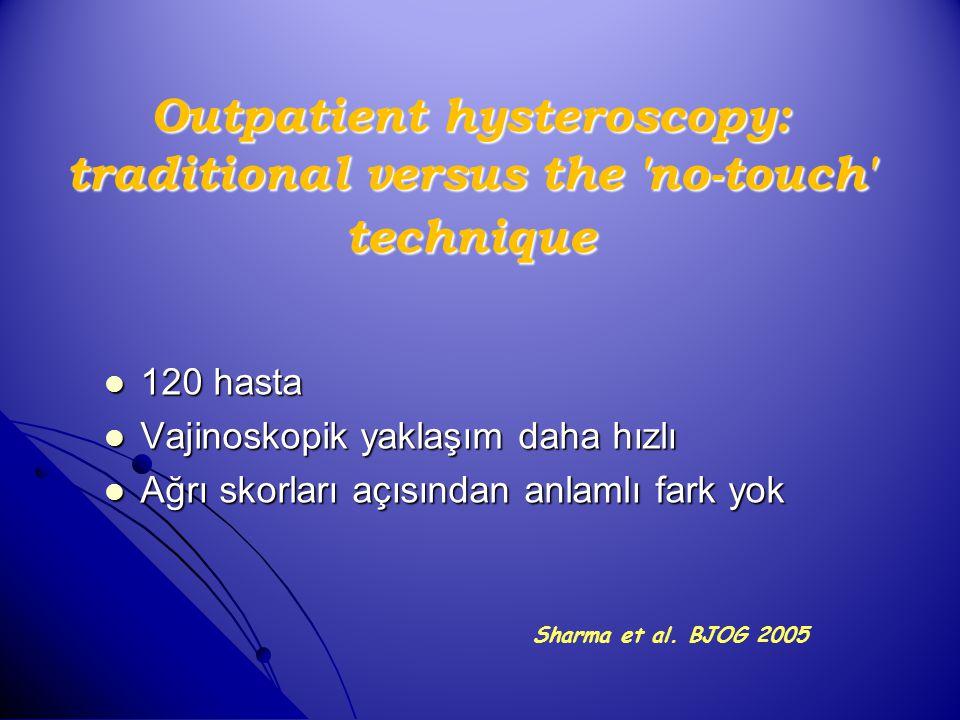 Outpatient hysteroscopy: traditional versus the 'no-touch' technique 120 hasta 120 hasta Vajinoskopik yaklaşım daha hızlı Vajinoskopik yaklaşım daha h