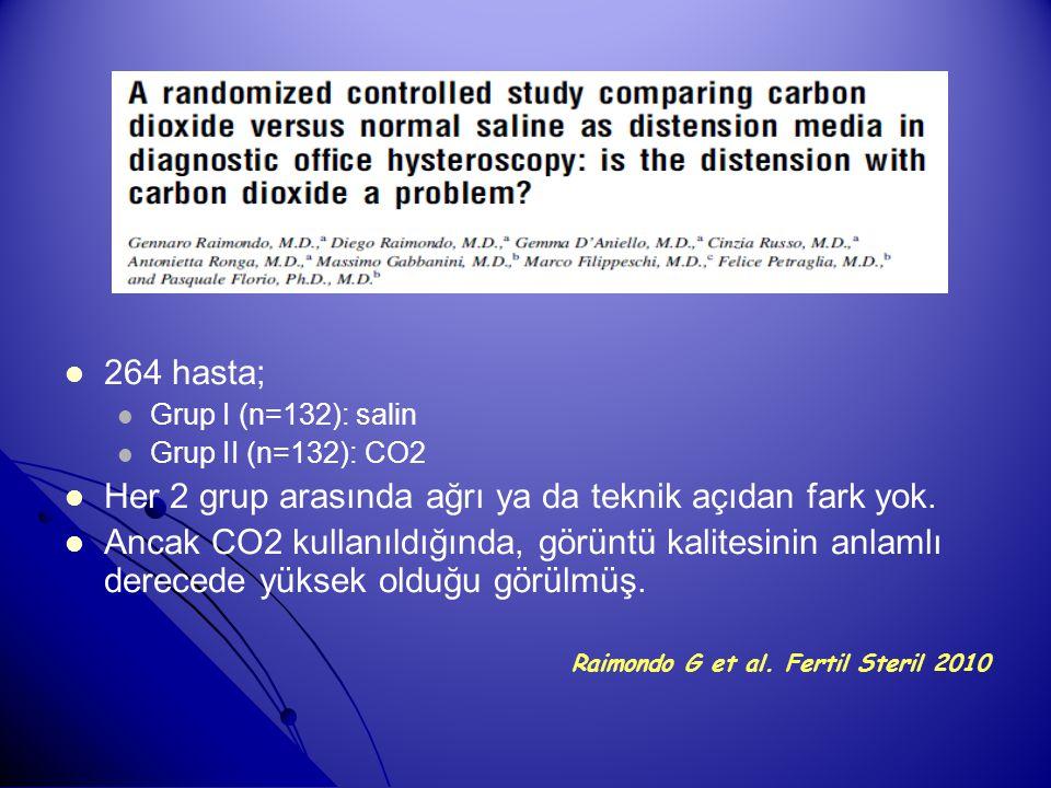 264 hasta; Grup I (n=132): salin Grup II (n=132): CO2 Her 2 grup arasında ağrı ya da teknik açıdan fark yok. Ancak CO2 kullanıldığında, görüntü kalite