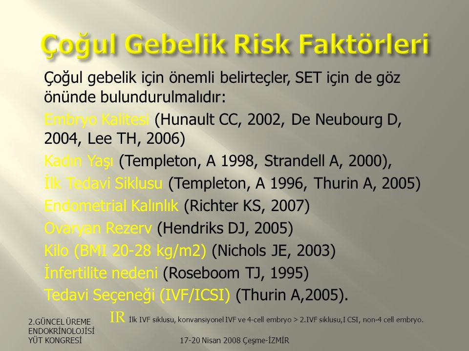 Çoğul gebelik için önemli belirteçler, SET için de göz önünde bulundurulmalıdır: Embryo Kalitesi (Hunault CC, 2002, De Neubourg D, 2004, Lee TH, 2006) Kadın Yaşı (Templeton, A 1998, Strandell A, 2000), İlk Tedavi Siklusu (Templeton, A 1996, Thurin A, 2005) Endometrial Kalınlık (Richter KS, 2007) Ovaryan Rezerv (Hendriks DJ, 2005) Kilo (BMI 20-28 kg/m2) (Nichols JE, 2003) İnfertilite nedeni (Roseboom TJ, 1995) Tedavi Seçeneği (IVF/ICSI) (Thurin A,2005).