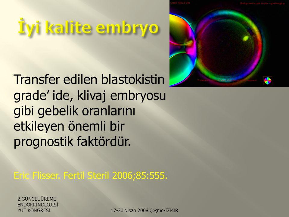 Transfer edilen blastokistin grade' ide, klivaj embryosu gibi gebelik oranlarını etkileyen önemli bir prognostik faktördür.