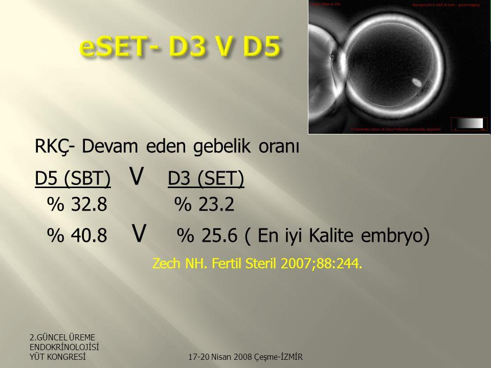 RKÇ- Devam eden gebelik oranı D5 (SBT) V D3 (SET) % 32.8 % 23.2 % 40.8 V % 25.6 ( En iyi Kalite embryo) Zech NH.