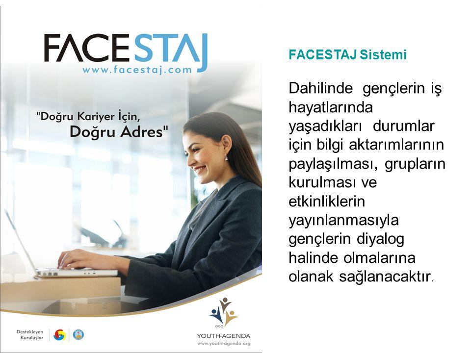 FACESTAJ Sistemi Dahilinde gençlerin iş hayatlarında yaşadıkları durumlar için bilgi aktarımlarının paylaşılması, grupların kurulması ve etkinliklerin