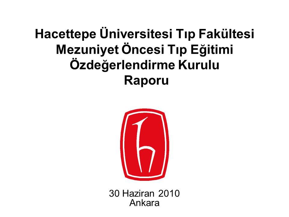 Hacettepe Üniversitesi Tıp Fakültesi Mezuniyet Öncesi Tıp Eğitimi Özdeğerlendirme Kurulu Raporu 30 Haziran 2010 Ankara