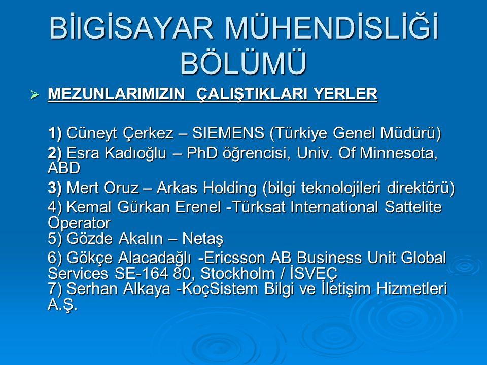  MEZUNLARIMIZIN ÇALIŞTIKLARI YERLER 1) Cüneyt Çerkez – SIEMENS (Türkiye Genel Müdürü) 2) Esra Kadıoğlu – PhD öğrencisi, Univ.