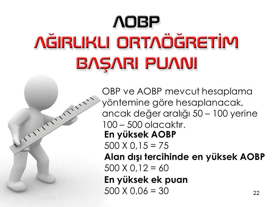 OBP ve AOBP mevcut hesaplama yöntemine göre hesaplanacak, ancak değer aralığı 50 – 100 yerine 100 – 500 olacaktır.