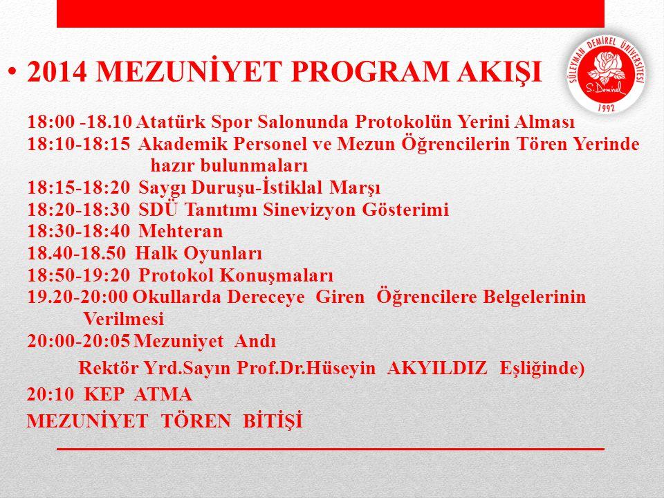 2014 MEZUNİYET PROGRAM AKIŞI 18:00 -18.10 Atatürk Spor Salonunda Protokolün Yerini Alması 18:10-18:15 Akademik Personel ve Mezun Öğrencilerin Tören Ye