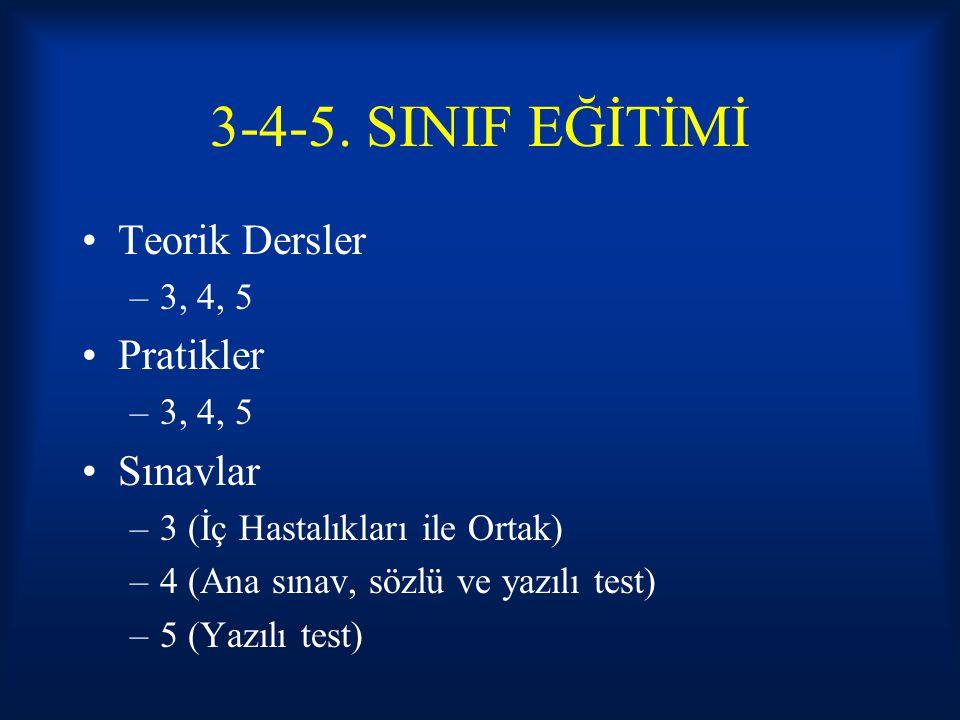 3-4-5. SINIF EĞİTİMİ Teorik Dersler –3, 4, 5 Pratikler –3, 4, 5 Sınavlar –3 (İç Hastalıkları ile Ortak) –4 (Ana sınav, sözlü ve yazılı test) –5 (Yazıl