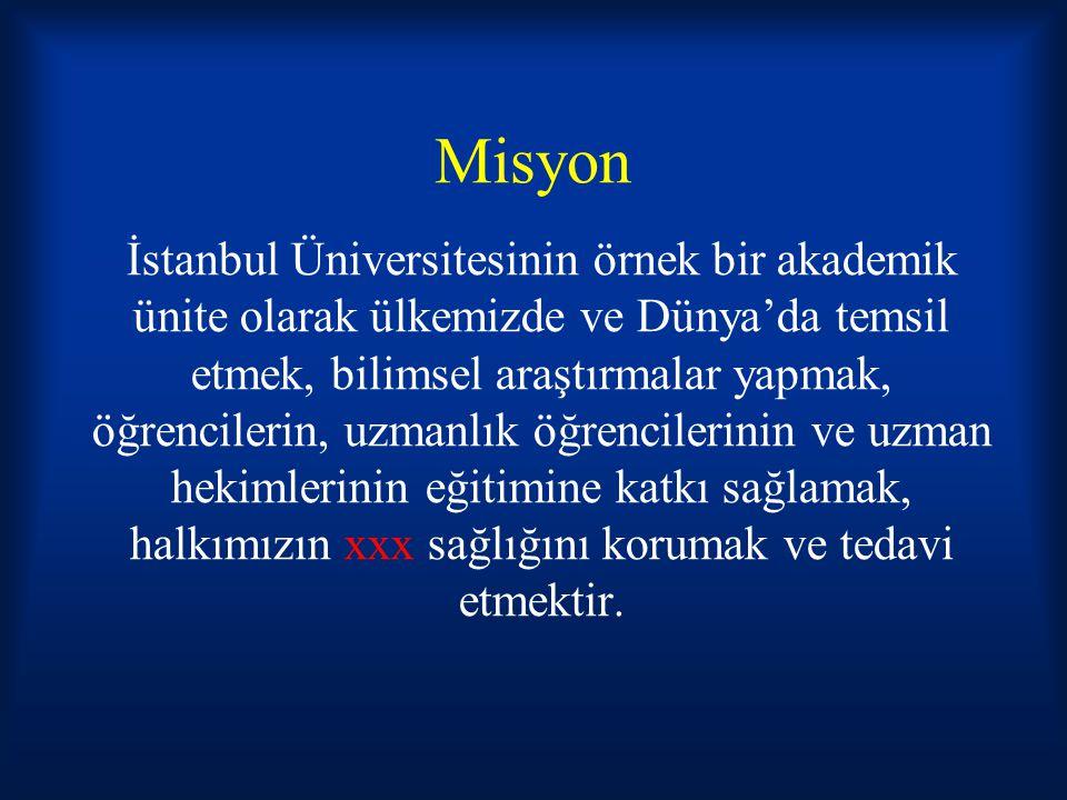 Misyon İstanbul Üniversitesinin örnek bir akademik ünite olarak ülkemizde ve Dünya'da temsil etmek, bilimsel araştırmalar yapmak, öğrencilerin, uzmanlık öğrencilerinin ve uzman hekimlerinin eğitimine katkı sağlamak, halkımızın xxx sağlığını korumak ve tedavi etmektir.