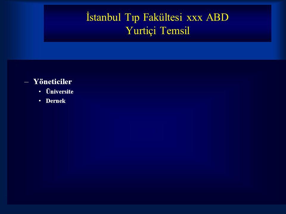 İstanbul Tıp Fakültesi xxx ABD Yurtiçi Temsil –Yöneticiler Üniversite Dernek