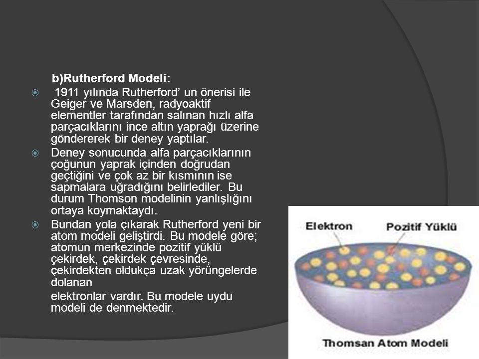 b)Rutherford Modeli:  1911 yılında Rutherford' un önerisi ile Geiger ve Marsden, radyoaktif elementler tarafından salınan hızlı alfa parçacıklarını i