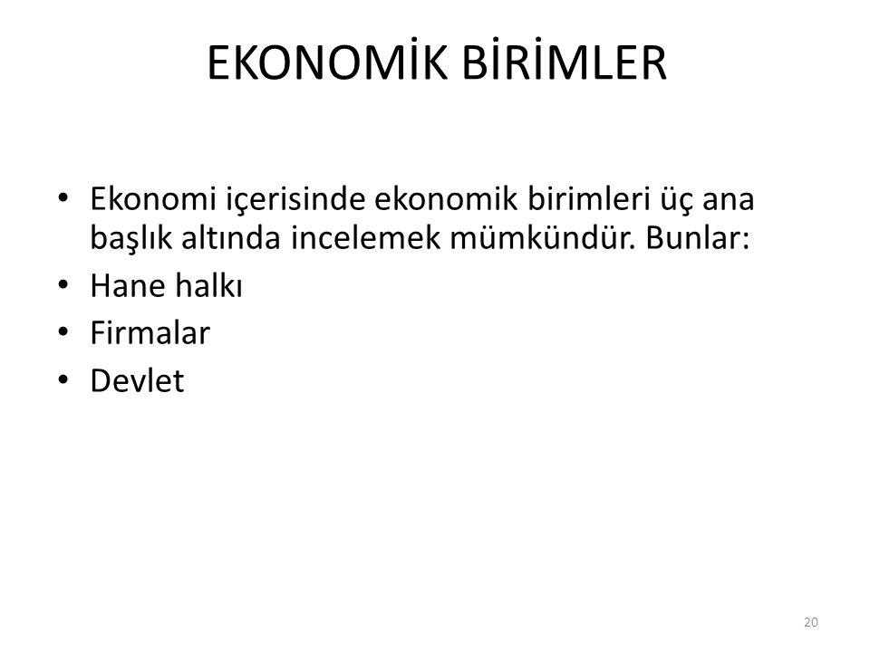 EKONOMİK BİRİMLER Ekonomi içerisinde ekonomik birimleri üç ana başlık altında incelemek mümkündür.