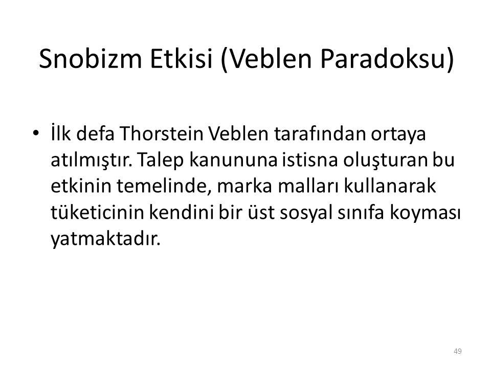 Snobizm Etkisi (Veblen Paradoksu) İlk defa Thorstein Veblen tarafından ortaya atılmıştır.