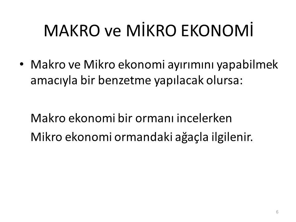 MAKRO ve MİKRO EKONOMİ Makro ve Mikro ekonomi ayırımını yapabilmek amacıyla bir benzetme yapılacak olursa: Makro ekonomi bir ormanı incelerken Mikro ekonomi ormandaki ağaçla ilgilenir.