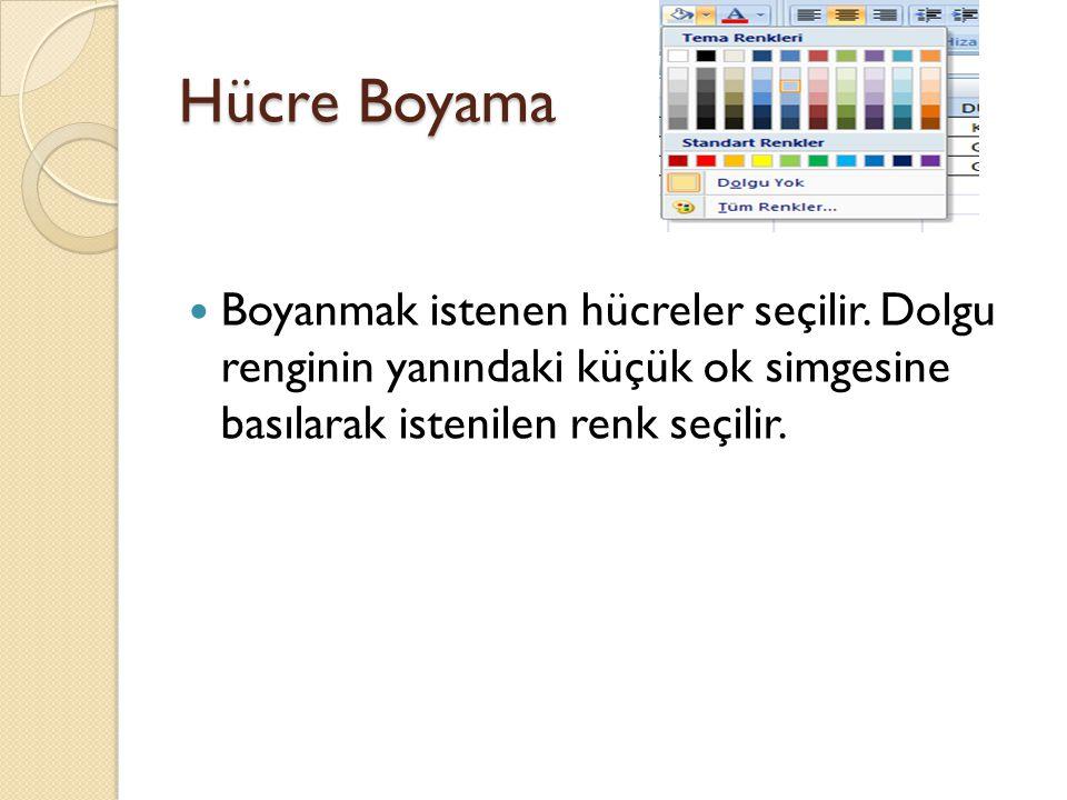 Hücre Boyama Boyanmak istenen hücreler seçilir. Dolgu renginin yanındaki küçük ok simgesine basılarak istenilen renk seçilir.