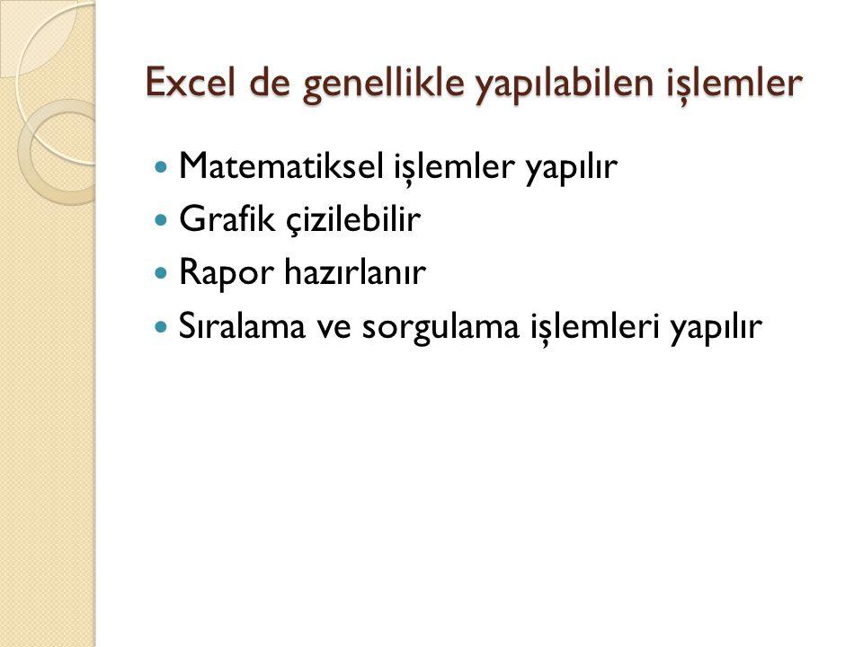 Excel de genellikle yapılabilen işlemler Matematiksel işlemler yapılır Grafik çizilebilir Rapor hazırlanır Sıralama ve sorgulama işlemleri yapılır