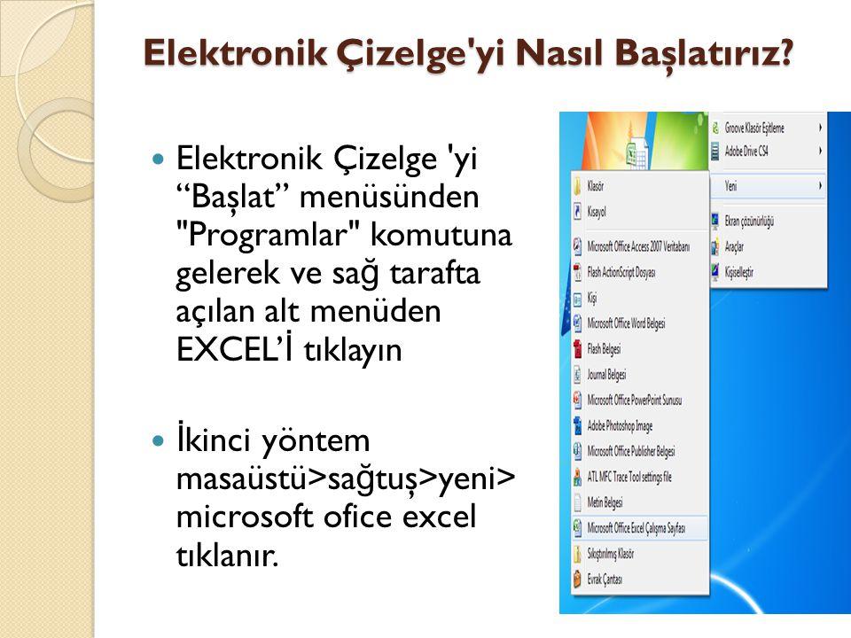 """Elektronik Çizelge'yi Nasıl Başlatırız? Elektronik Çizelge 'yi """"Başlat"""" menüsünden"""