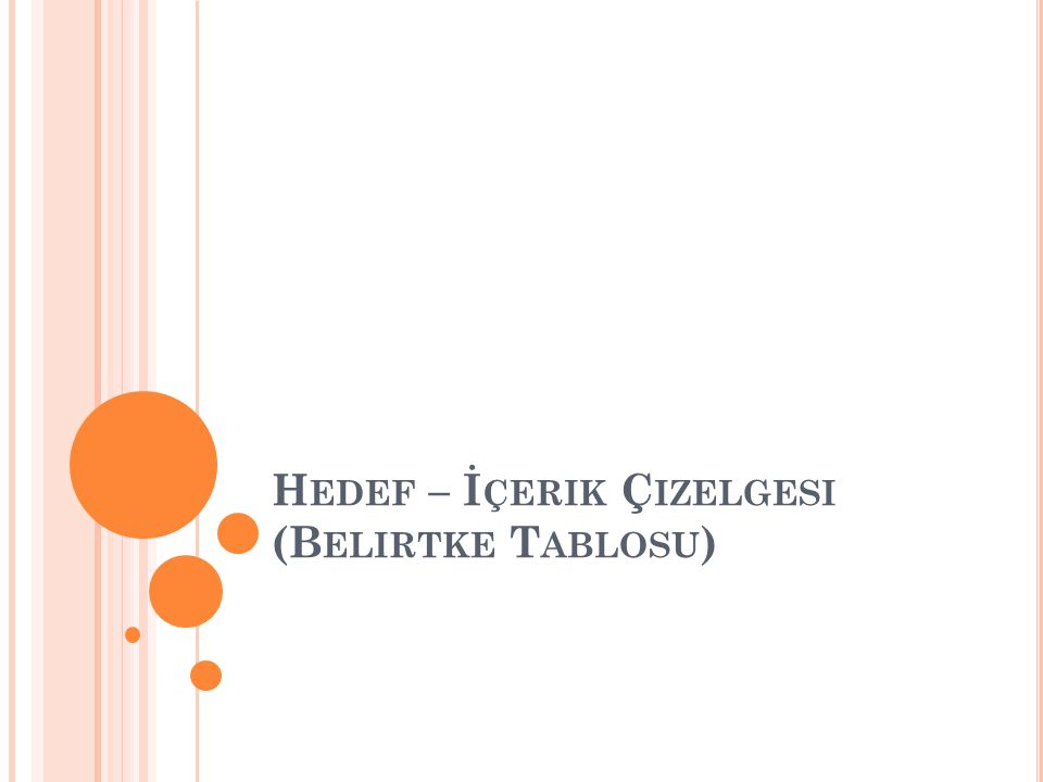 H EDEF – İ ÇERIK Ç IZELGESI (B ELIRTKE T ABLOSU )