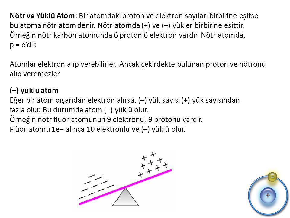 Nötr ve Yüklü Atom: Bir atomdaki proton ve elektron sayıları birbirine eşitse bu atoma nötr atom denir.