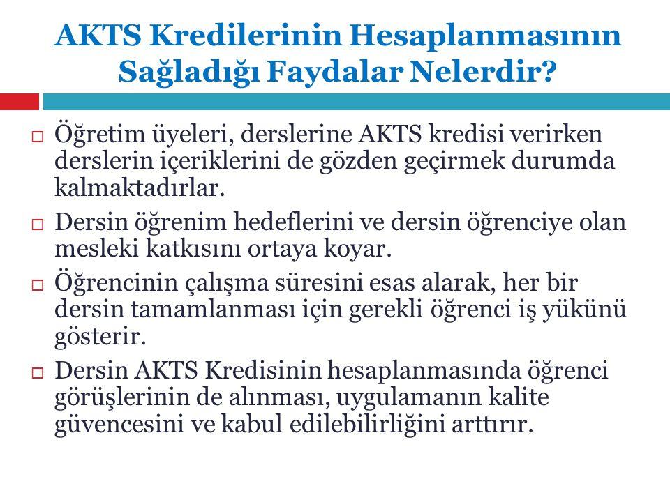 AKTS Kredilerinin Hesaplanmasının Sağladığı Faydalar Nelerdir.