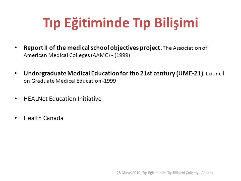 28 Mayıs 2010, Tıp Eğitiminde Tıp Bilişimi Çalıştayı, Ankara 21.yy Hekim Profili- Global Standartlar Instıtute for Internatıonal Medıcal Educatıon,USA Klinik Beceriler Halk Sağlığı Bilimsel Temeller Profesyonel Değerler ve Tutumlar Bilgi Yönetimi Kritik Düşünme İletişim Becerileri