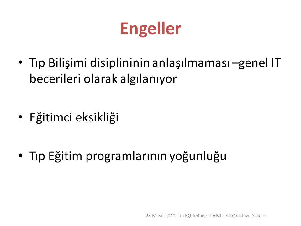 28 Mayıs 2010, Tıp Eğitiminde Tıp Bilişimi Çalıştayı, Ankara Engeller Tıp Bilişimi disiplininin anlaşılmaması –genel IT becerileri olarak algılanıyor