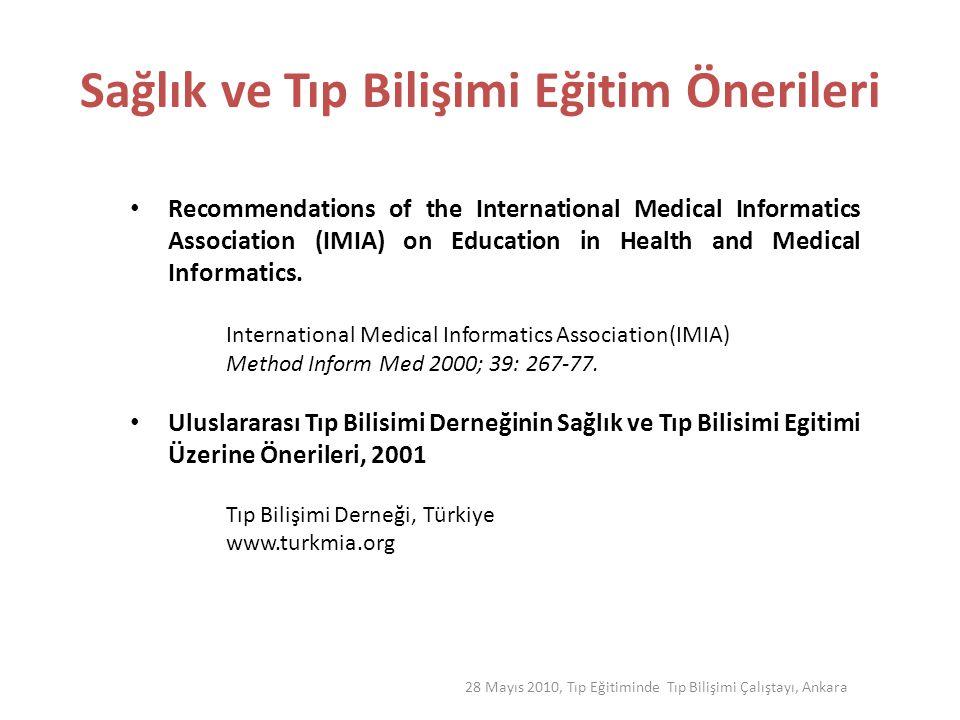 Biyomedikal ve Sağlık Bilişimi(BMSB) Eğitimi Klinik ortamlarda Sağlık Bilgi Sistemlerine ilişkin güçlükler Standartlar ve birlikte çalışabilirliğin olmayışı Gizlilik ve mahremiyetle ilgili endişeler İşgücünün niteliklerin tanımlanmaması, eğitim ihtiyacı BMSB alanındaki tanımların çeşitliliği(medikal, biyomedikal ve/veya sağlık) 28 Mayıs 2010, Tıp Eğitiminde Tıp Bilişimi Çalıştayı, Ankara