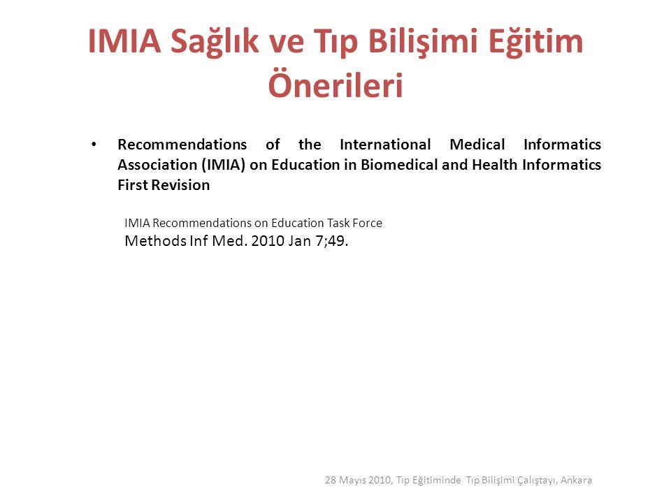 Temel Prensipler çeşitli sağlık bakım uzmanlıkları için H farklı eğitim yöntemleri ile E alternatif uzmanlık türleri A değişik eğitim düzeylerinde L nitelikli eğitimcilerle T Sağlık Bilişimi pozisyonları için akredite nitelikler H 28 Mayıs 2010, Tıp Eğitiminde Tıp Bilişimi Çalıştayı, Ankara