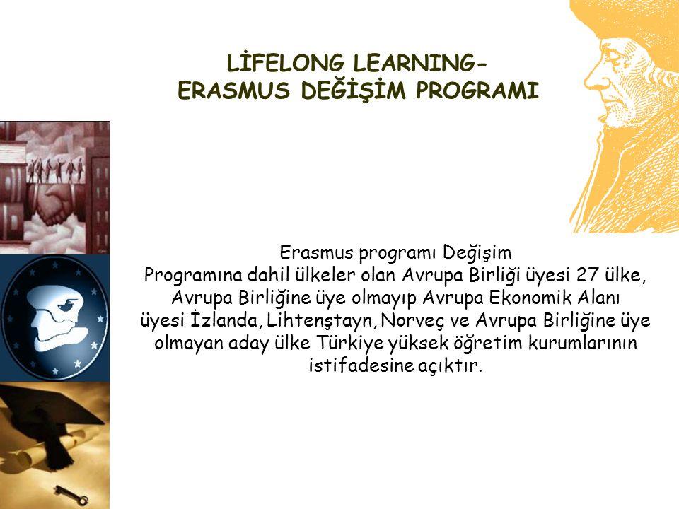 LİFELONG LEARNING- ERASMUS DEĞİŞİM PROGRAMI Erasmus programı Değişim Programına dahil ülkeler olan Avrupa Birliği üyesi 27 ülke, Avrupa Birliğine üye
