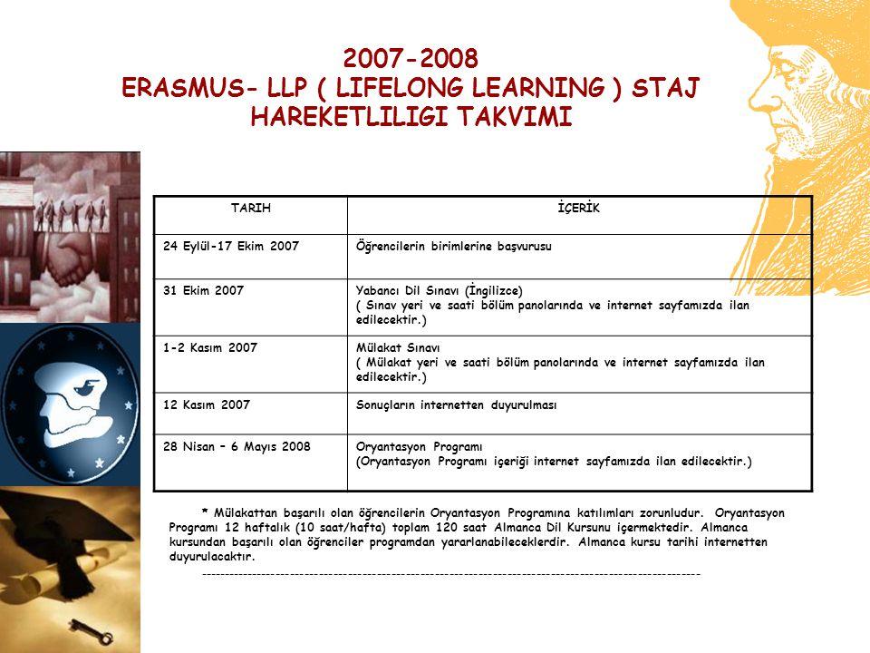 2007-2008 ERASMUS- LLP ( LIFELONG LEARNING ) STAJ HAREKETLILIGI TAKVIMI TARIHİÇERİK 24 Eylül-17 Ekim 2007Öğrencilerin birimlerine başvurusu 31 Ekim 20