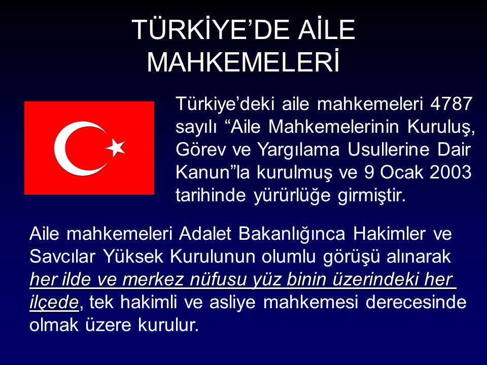 TÜRKİYE'DE AİLE MAHKEMELERİ Türkiye'deki aile mahkemeleri 4787 sayılı Aile Mahkemelerinin Kuruluş, Görev ve Yargılama Usullerine Dair Kanun la kurulmuş ve 9 Ocak 2003 tarihinde yürürlüğe girmiştir.