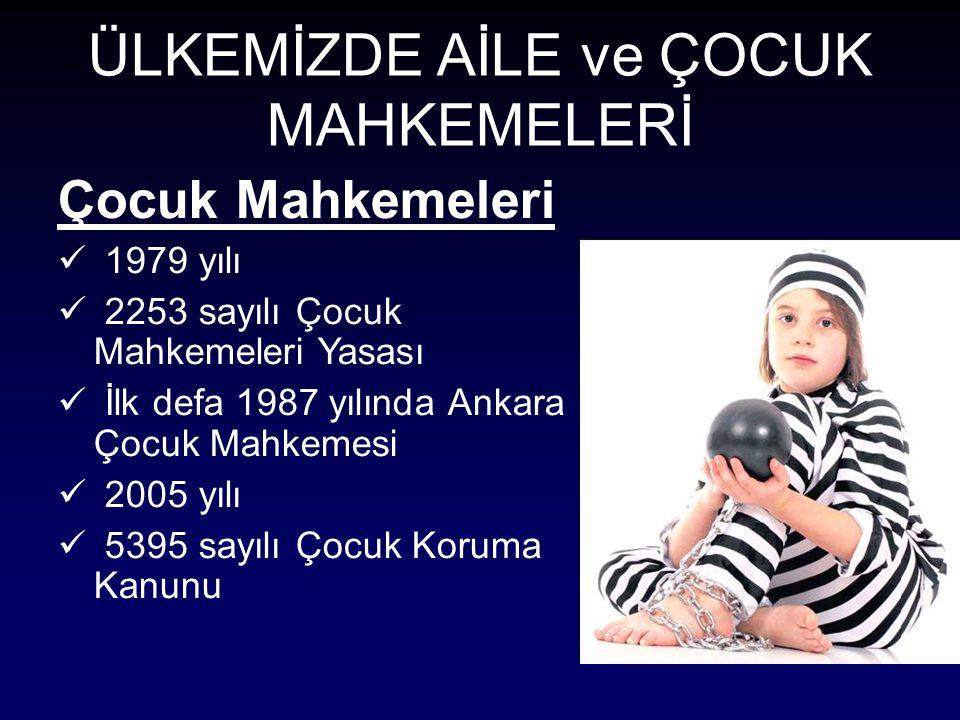 ÜLKEMİZDE AİLE ve ÇOCUK MAHKEMELERİ Çocuk Mahkemeleri 1979 yılı 2253 sayılı Çocuk Mahkemeleri Yasası İlk defa 1987 yılında Ankara Çocuk Mahkemesi 2005 yılı 5395 sayılı Çocuk Koruma Kanunu