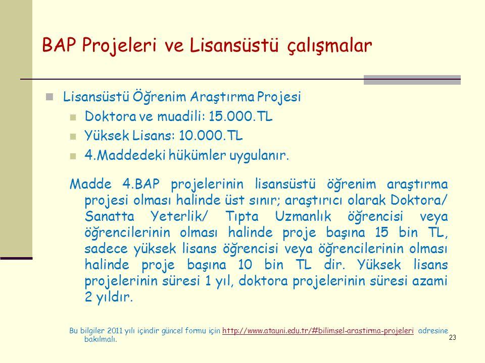 BAP Projeleri ve Lisansüstü çalışmalar Lisansüstü Öğrenim Araştırma Projesi Doktora ve muadili: 15.000.TL Yüksek Lisans: 10.000.TL 4.Maddedeki hükümle