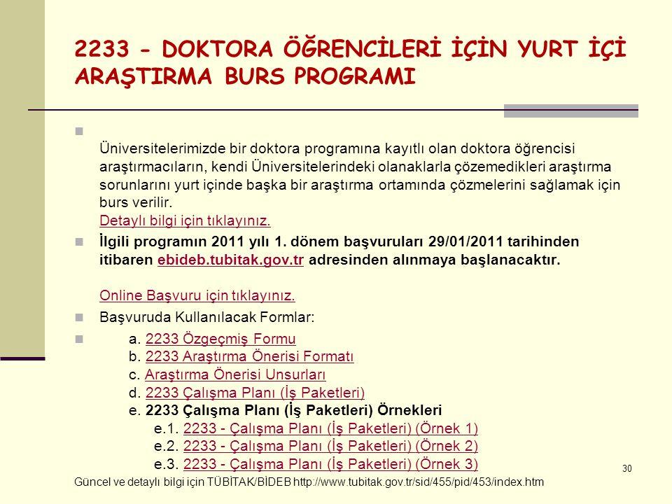 2233 - DOKTORA ÖĞRENCİLERİ İÇİN YURT İÇİ ARAŞTIRMA BURS PROGRAMI Üniversitelerimizde bir doktora programına kayıtlı olan doktora öğrencisi araştırmacı