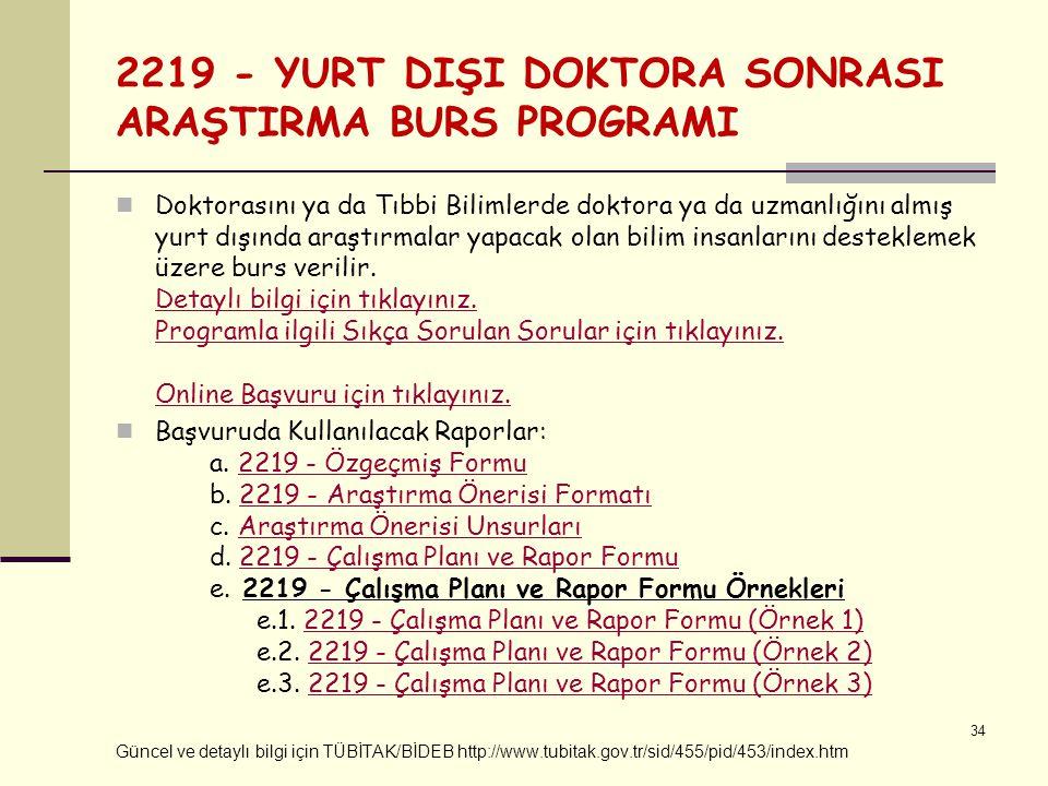 2219 - YURT DIŞI DOKTORA SONRASI ARAŞTIRMA BURS PROGRAMI Doktorasını ya da Tıbbi Bilimlerde doktora ya da uzmanlığını almış yurt dışında araştırmalar