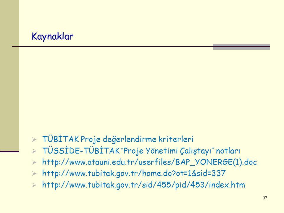 """Kaynaklar  TÜBİTAK Proje değerlendirme kriterleri  TÜSSİDE-TÜBİTAK """"Proje Yönetimi Çalıştayı"""" notları  http://www.atauni.edu.tr/userfiles/BAP_YONER"""