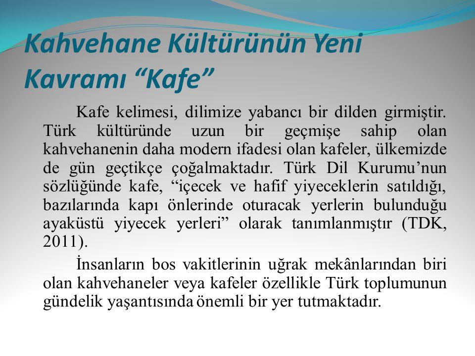 """Kahvehane Kültürünün Yeni Kavramı """"Kafe"""" Kafe kelimesi, dilimize yabancı bir dilden girmiştir. Türk kültüründe uzun bir geçmişe sahip olan kahvehaneni"""