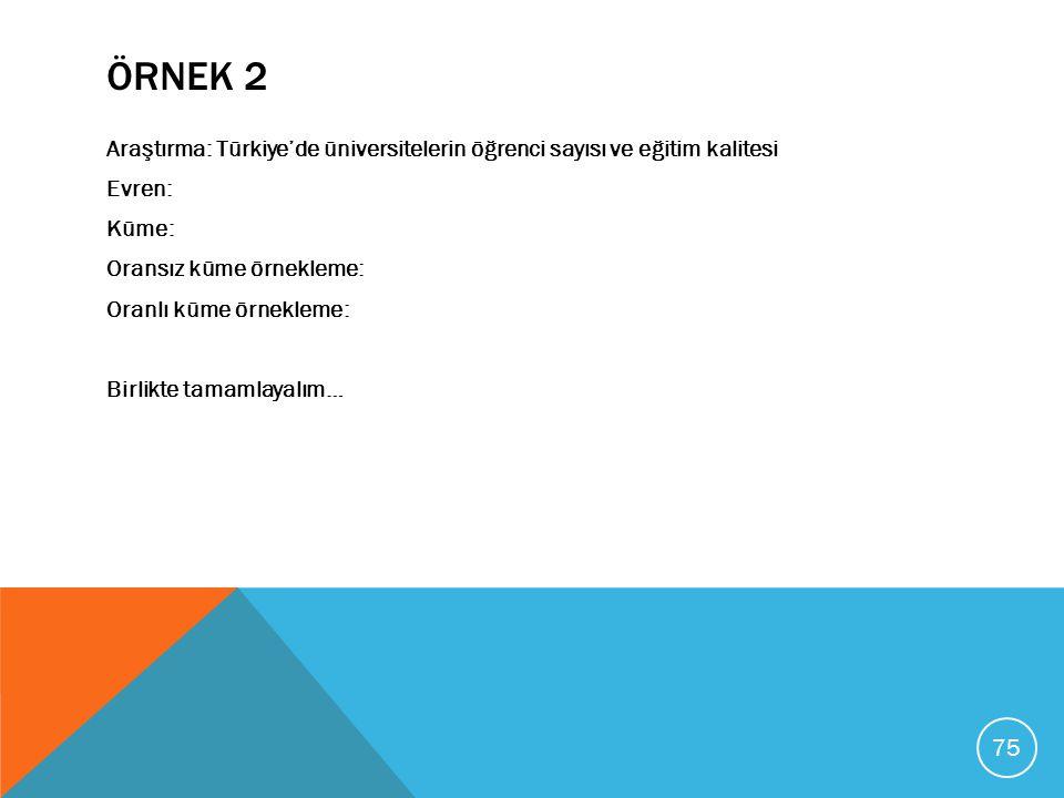 ÖRNEK 2 Araştırma: Türkiye'de üniversitelerin öğrenci sayısı ve eğitim kalitesi Evren: Küme: Oransız küme örnekleme: Oranlı küme örnekleme: Birlikte t