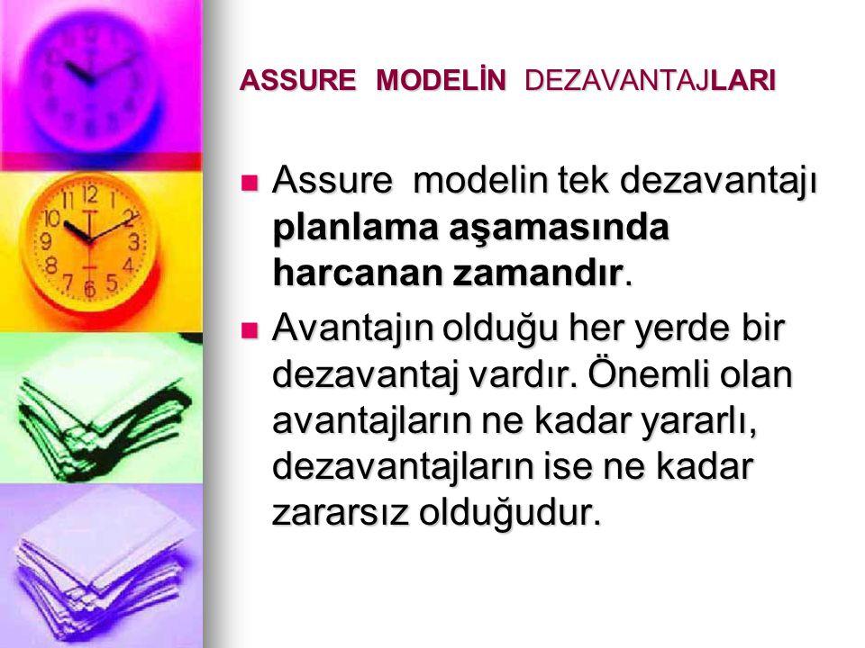 ASSURE MODELİN DEZAVANTAJLARI Assure modelin tek dezavantajı planlama aşamasında harcanan zamandır.