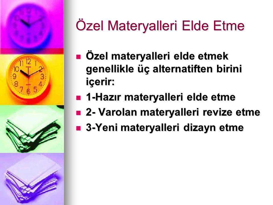 Özel Materyalleri Elde Etme Özel materyalleri elde etmek genellikle üç alternatiften birini içerir: Özel materyalleri elde etmek genellikle üç alternatiften birini içerir: 1-Hazır materyalleri elde etme 1-Hazır materyalleri elde etme 2- Varolan materyalleri revize etme 2- Varolan materyalleri revize etme 3-Yeni materyalleri dizayn etme 3-Yeni materyalleri dizayn etme