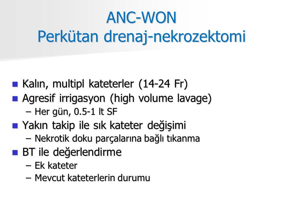 ANC-WON Perkütan drenaj-nekrozektomi Kalın, multipl kateterler (14-24 Fr) Kalın, multipl kateterler (14-24 Fr) Agresif irrigasyon (high volume lavage) Agresif irrigasyon (high volume lavage) –Her gün, 0.5-1 lt SF Yakın takip ile sık kateter değişimi Yakın takip ile sık kateter değişimi –Nekrotik doku parçalarına bağlı tıkanma BT ile değerlendirme BT ile değerlendirme –Ek kateter –Mevcut kateterlerin durumu