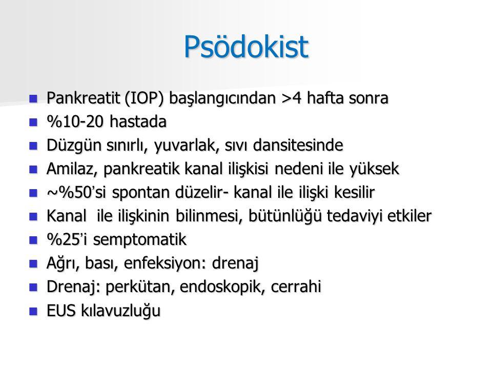 Psödokist Pankreatit (IOP) başlangıcından >4 hafta sonra Pankreatit (IOP) başlangıcından >4 hafta sonra %10-20 hastada %10-20 hastada Düzgün sınırlı, yuvarlak, sıvı dansitesinde Düzgün sınırlı, yuvarlak, sıvı dansitesinde Amilaz, pankreatik kanal ilişkisi nedeni ile yüksek Amilaz, pankreatik kanal ilişkisi nedeni ile yüksek ~%50'si spontan düzelir- kanal ile ilişki kesilir ~%50'si spontan düzelir- kanal ile ilişki kesilir Kanal ile ilişkinin bilinmesi, bütünlüğü tedaviyi etkiler Kanal ile ilişkinin bilinmesi, bütünlüğü tedaviyi etkiler %25'i semptomatik %25'i semptomatik Ağrı, bası, enfeksiyon: drenaj Ağrı, bası, enfeksiyon: drenaj Drenaj: perkütan, endoskopik, cerrahi Drenaj: perkütan, endoskopik, cerrahi EUS kılavuzluğu EUS kılavuzluğu