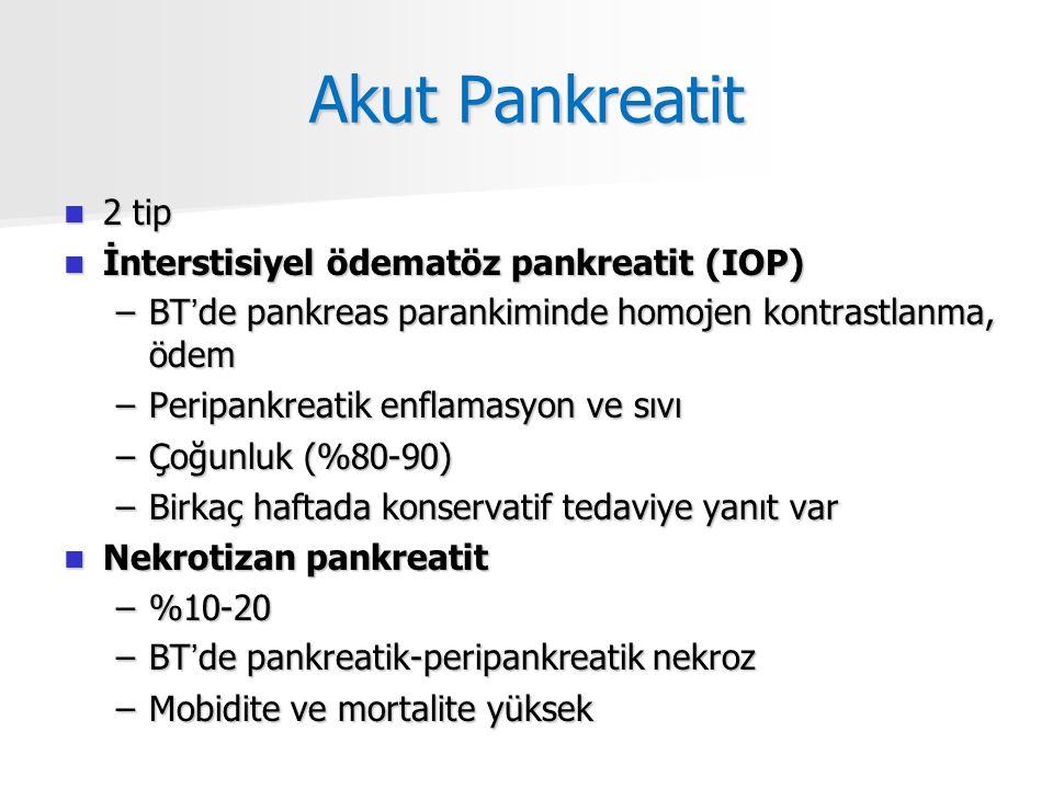 Akut Pankreatit 2 tip 2 tip İnterstisiyel ödematöz pankreatit (IOP) İnterstisiyel ödematöz pankreatit (IOP) –BT'de pankreas parankiminde homojen kontrastlanma, ödem –Peripankreatik enflamasyon ve sıvı –Çoğunluk (%80-90) –Birkaç haftada konservatif tedaviye yanıt var Nekrotizan pankreatit Nekrotizan pankreatit –%10-20 –BT'de pankreatik-peripankreatik nekroz –Mobidite ve mortalite yüksek