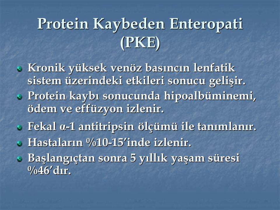Protein Kaybeden Enteropati (PKE) Kronik yüksek venöz basıncın lenfatik sistem üzerindeki etkileri sonucu gelişir. Protein kaybı sonucunda hipoalbümin