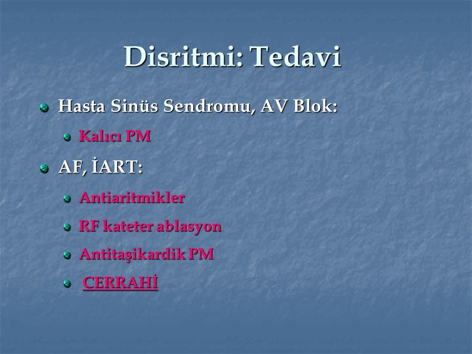 Disritmi: Tedavi Hasta Sinüs Sendromu, AV Blok: Kalıcı PM AF, İART: Antiaritmikler RF kateter ablasyon Antitaşikardik PM CERRAHİ CERRAHİ
